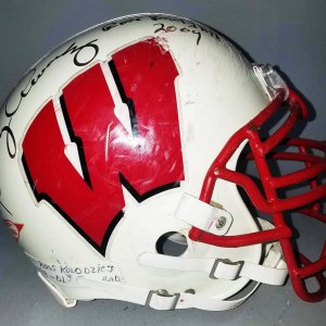 1998 Ross Kolodziej Game-Worn, Multi-Signed Wisconsin Badgers Helmet - COA 100% Team