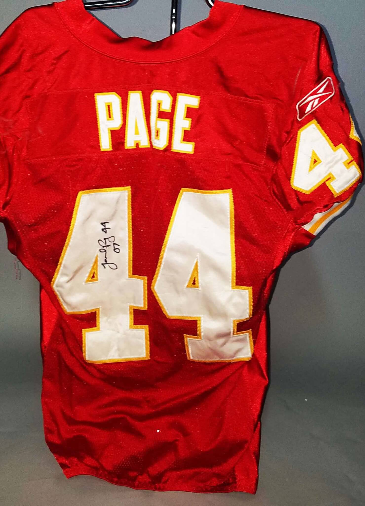 2007 Jarrad Page Game Worn, Signed Kansas City Chiefs Jersey  for cheap