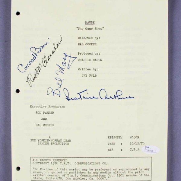 Maude (TV series) Multi-Signed Script - Bea Arthur, Bill Macy, etc. - COA JSA