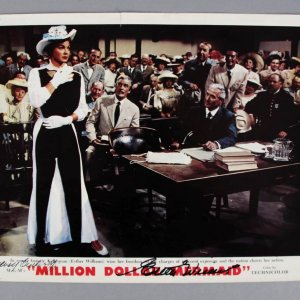 "Esther Williams Signed ""Million Dollar Mermaid"" Lobby Card - COA JSA"