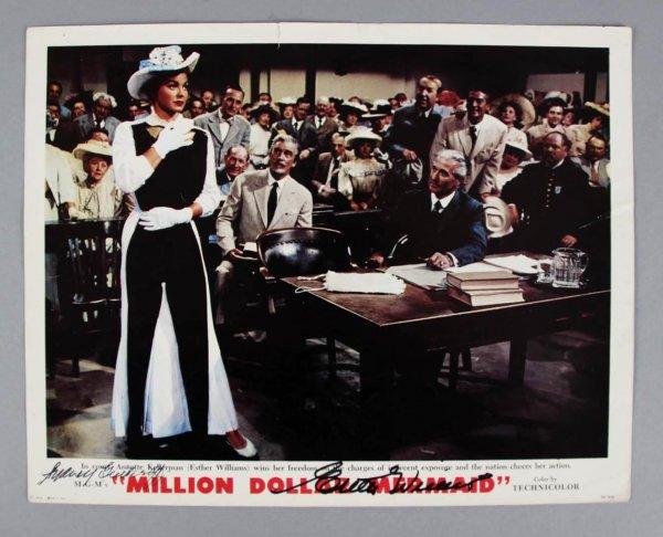 "Esther Williams Signed ""Million Dollar Mermaid"" Lobby Card - COA JSA"
