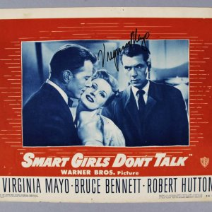 "Virginia Mayo Signed ""Smart Girls Don't Talk"" Lobby Card - COA JSA"