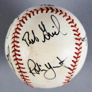 1980 MLB All-Star Multi-Signed Baseball - Rickey Henderson, Robin Yount, etc. -COA JSA