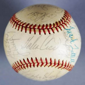 1973 Kansas City Royals Team-Signed ONL Feeney) Baseball - JSA