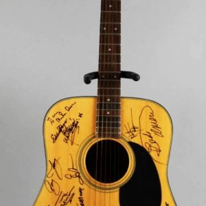 Country Singers & Celebrities Signed Acoustic Guitar 30+ Autographs Charlie Daniels etc . JSA