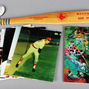 Boston Red Sox Signed Photo Lot (10) Rice, Fisk, Lynn etc. w/ Program, Paddle & Pin - JSA