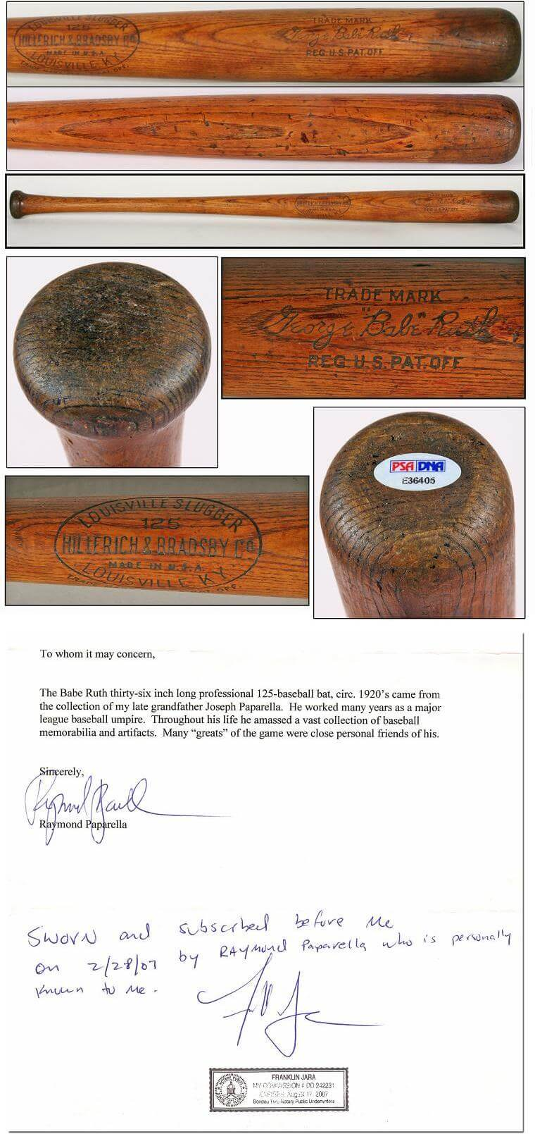 1923 Babe Ruth Game-Used Bat (PSA GU-8)