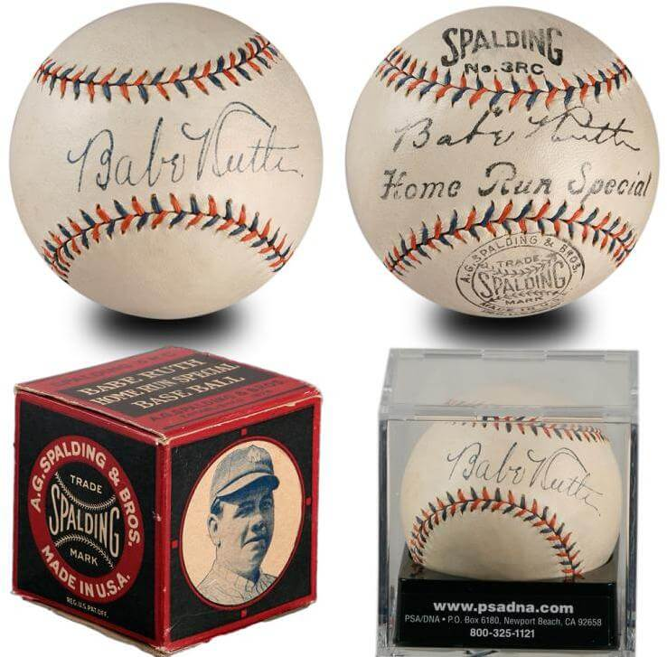 Babe Ruth Signed Baseball- PSA/DNA Graded 8.5