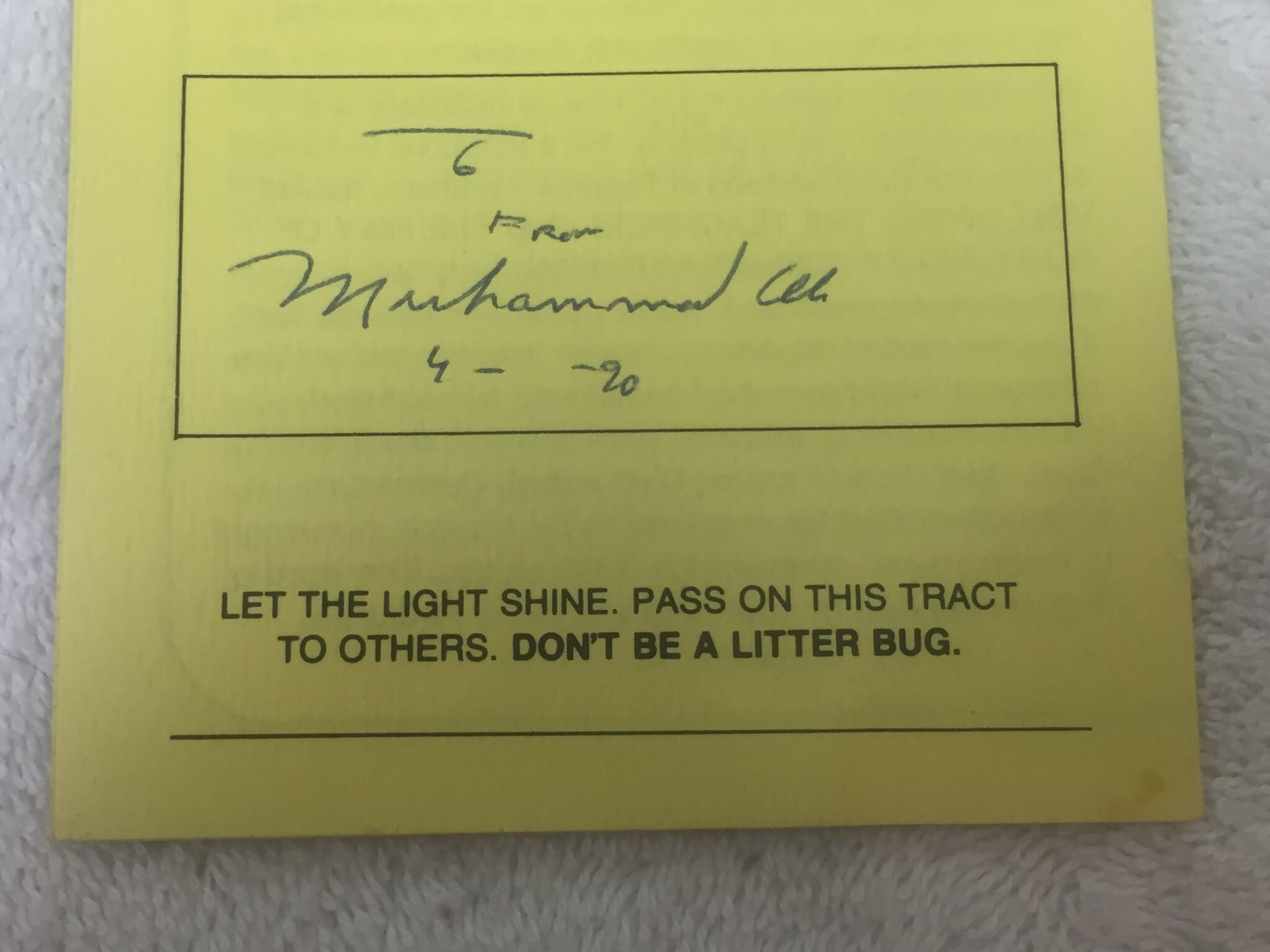"Muhammad Ali Signed Inscribed Islamic Pamphlet ""9- -90"" FULL JSA LOA"