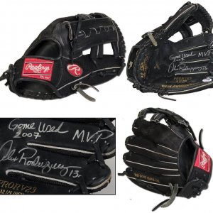 "2007 Alex Rodriguez Game-Used, Autographed Fielder's Glove (w/Arod LOA; ""Game Used 2007 MVP"") Rare Full Name Signature"