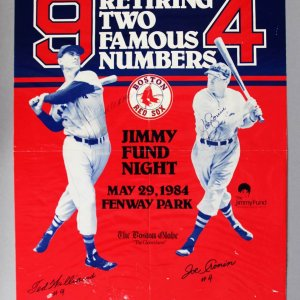 "Ted Williams & Joe Cronin Signed Jimmy Fund 17x22"" Poster - JSA Full LOA"