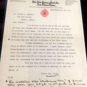 Walter Camp Autographed Sign Letter to Yale Football Player & Coach George Chadwick (1897-1902)