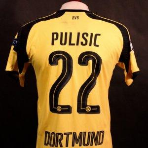 A Christian Pulisic Game-Used #22 Borussia Dortmund Home Shirt.  2016/17 UEFA Champions League.