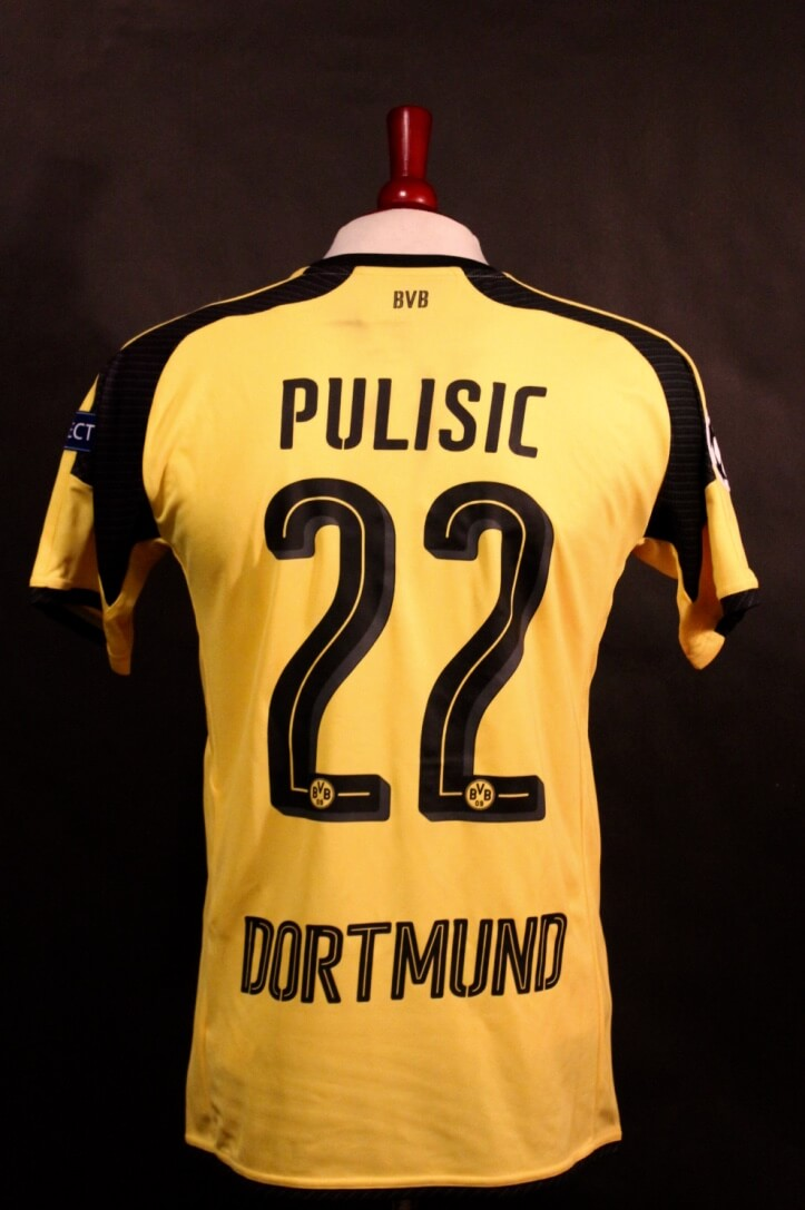 free shipping 6d612 c5fe3 A Christian Pulisic Game-Used #22 Borussia Dortmund Home Shirt. 2016/17  UEFA Champions League