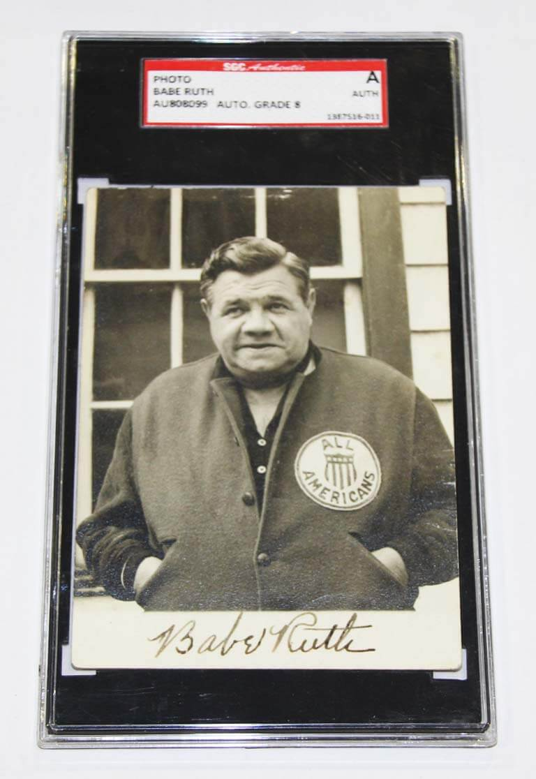 1934 Babe Ruth Signed Tour of Japan Photo New York Yankees - SGC