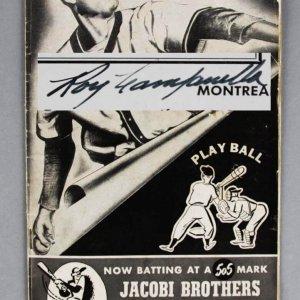 1947 Roy Campanella Signed Scorecard - Montreal Royals - COA JSA