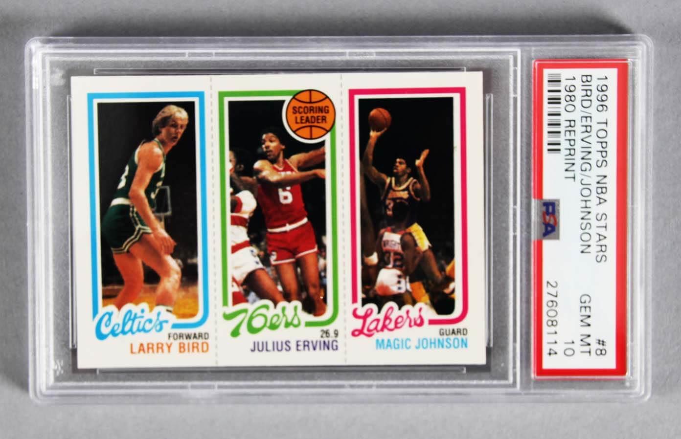 1996 Topps Nba Stars Larry Bird Julius Erving Magic Johnson Rookie Card Psa Graded Gem Mt 10
