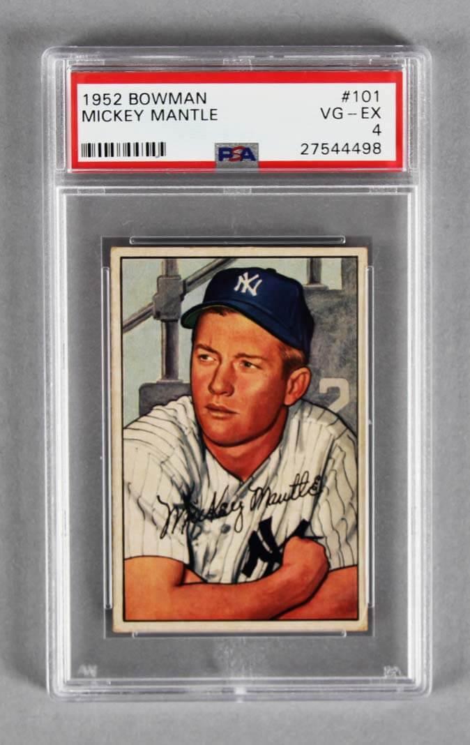 1952 Bowman Mickey Mantle Baseball Card 101 Graded Psa Vg Ex 4
