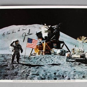Astronaut Jim Irwin Signed 8x10 Moon Walk Photo - COA JSA