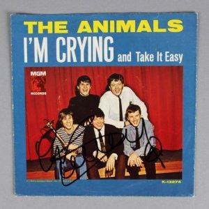 "Eric Burdon  The Animals Signed ""I'm Crying and Take It Easy"" 45 Record Sleeve - COA JSA"