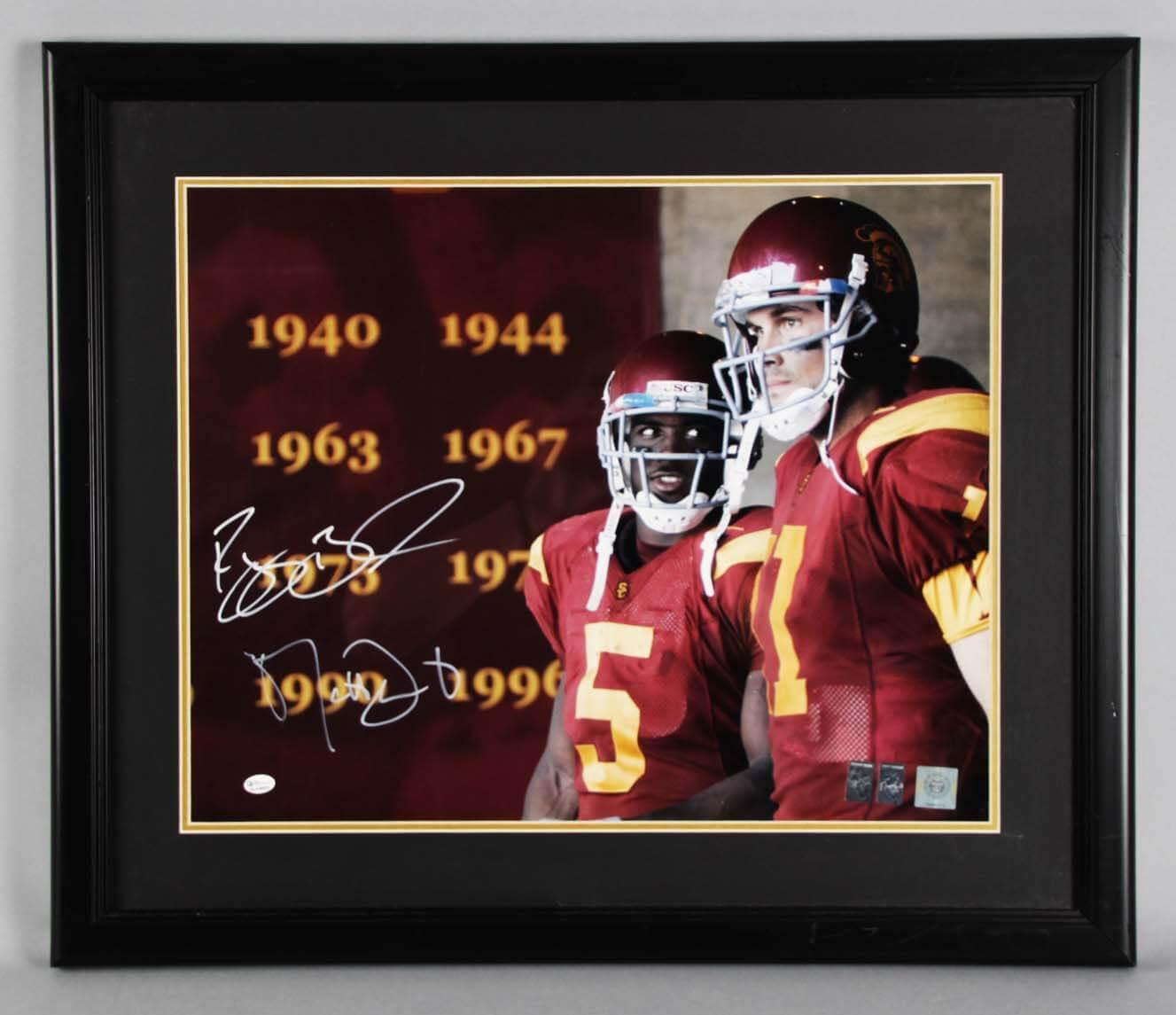 Reggie Bush & Matt Leinart Signed USC Trojans Photo Display - COA