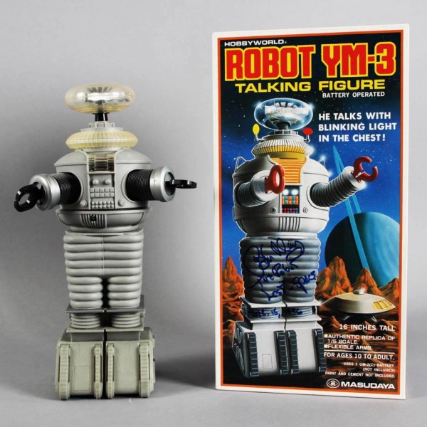 """Lost in Space Robot YM3 16""""  Signed & Inscribed by Bob May  7y Box-New In Box COA JSA"""