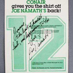Joe Namath Signed Advertisement Jets - COA JSA