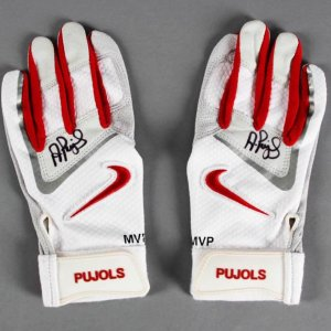 Albert Pujols Game-Issued Glove, Signed Batting Gloves COA Pujols Holo & JSA Full LOA
