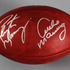 Peyton Manning & Archie Manning Signed Official Wilson NFL Duke Football- COA Beckett