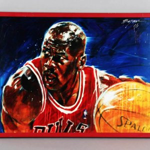 "Michael Jordan 21 x 27.25"" LE 1/1 Canvas Artwork  Signed by Michael Bryan"