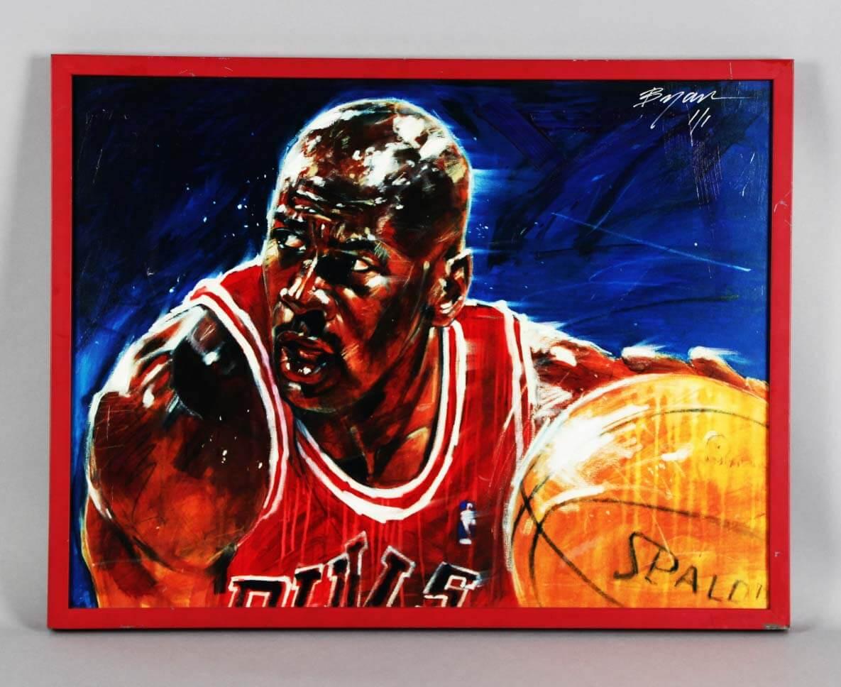 "Michael Jordan 21 x 27.25"" LE 1/1 Canvas Artwork  Signed by Michael Bryan"