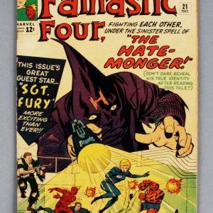 1963 Fantastic Four #21 Comic Book Dec Volume 1