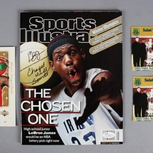 "2002 LeBron James Signed, Inscribed Sports Illustrated Magazine ""The Chosen One"" Issue +(2) High School Cards & UD Christmas Card  - JSA Full LOA"