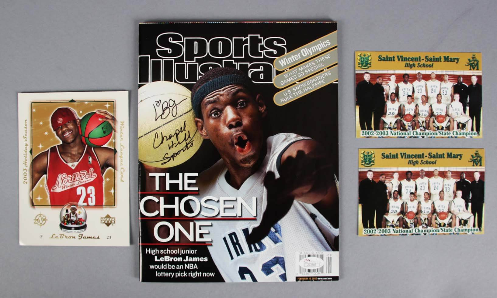"""2002 LeBron James Signed, Inscribed Sports Illustrated Magazine """"The Chosen One"""" Issue +(2) High School Cards & UD Christmas Card  - JSA Full LOA"""