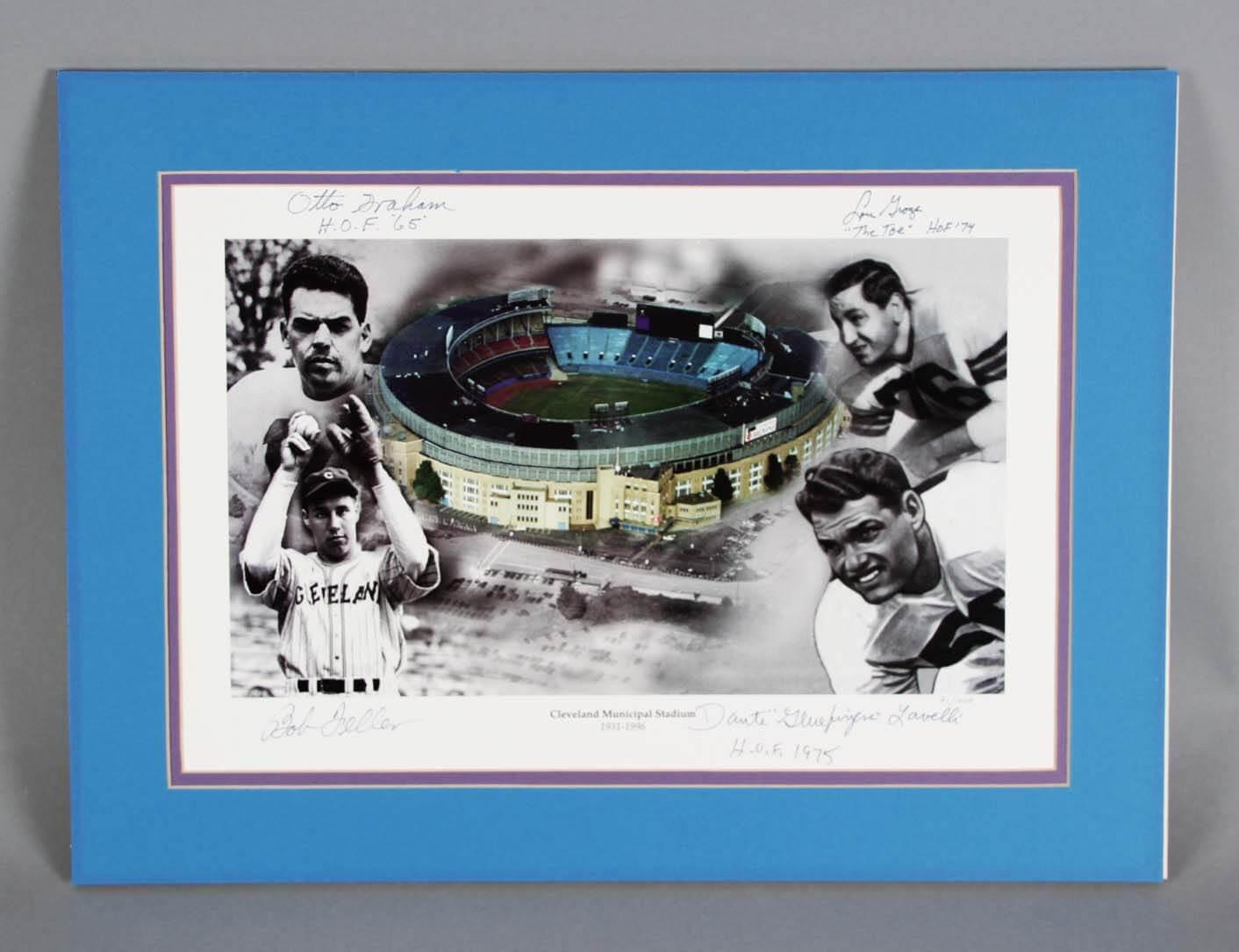 Cleveland Sports HOFer's Multi-Signed  Photo - Otto Graham, Lou Groza etc. - JSA