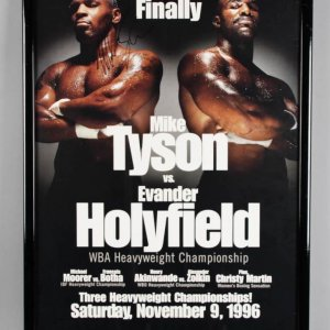 "1996 Mike Tyson Signed 25.5 x 37.5"" vs Holyfield Fight Poster - JSA"