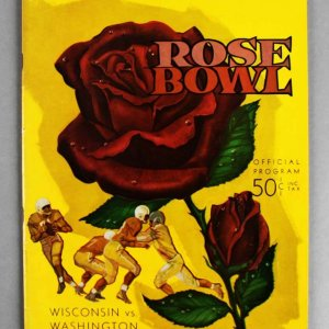 1960 Wisconsin Badgers vs. Washington Huskies Rose Bowl Program