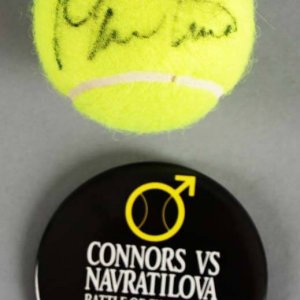 Martina Navratilova Signed Tennis Ball w/Jimmy Connors Pin - COA JSA