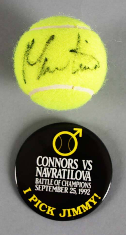 Martina Navratilova Signed Tennis Ball w/Jimmy Connors Pin - COA JSA