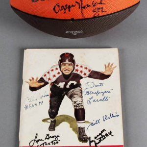 Cleveland Browns Multi-Signed Football & Program - Otto Graham, Marty Schottenheimer etc. - JSA