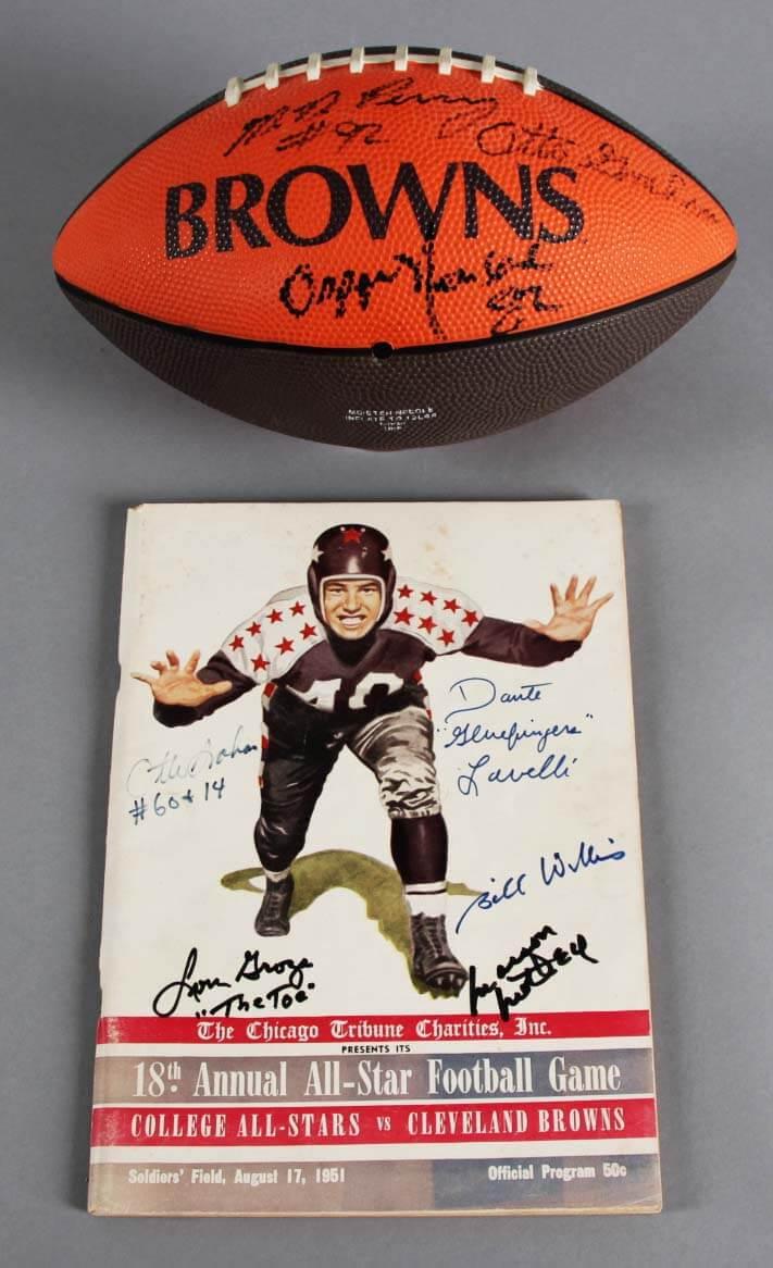 Cleveland Browns Signed Football & Program - Otto Graham, etc. - COA JSA