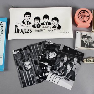 The Beatles Lot - Bank, Thermometer, Pencil Case, Playing Cards, Photos, Knife etc.