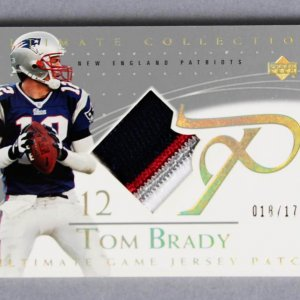 2003 UD Ultimate Collection Tom Brady Game-Used Patriots Jersey Card Patch 18/175