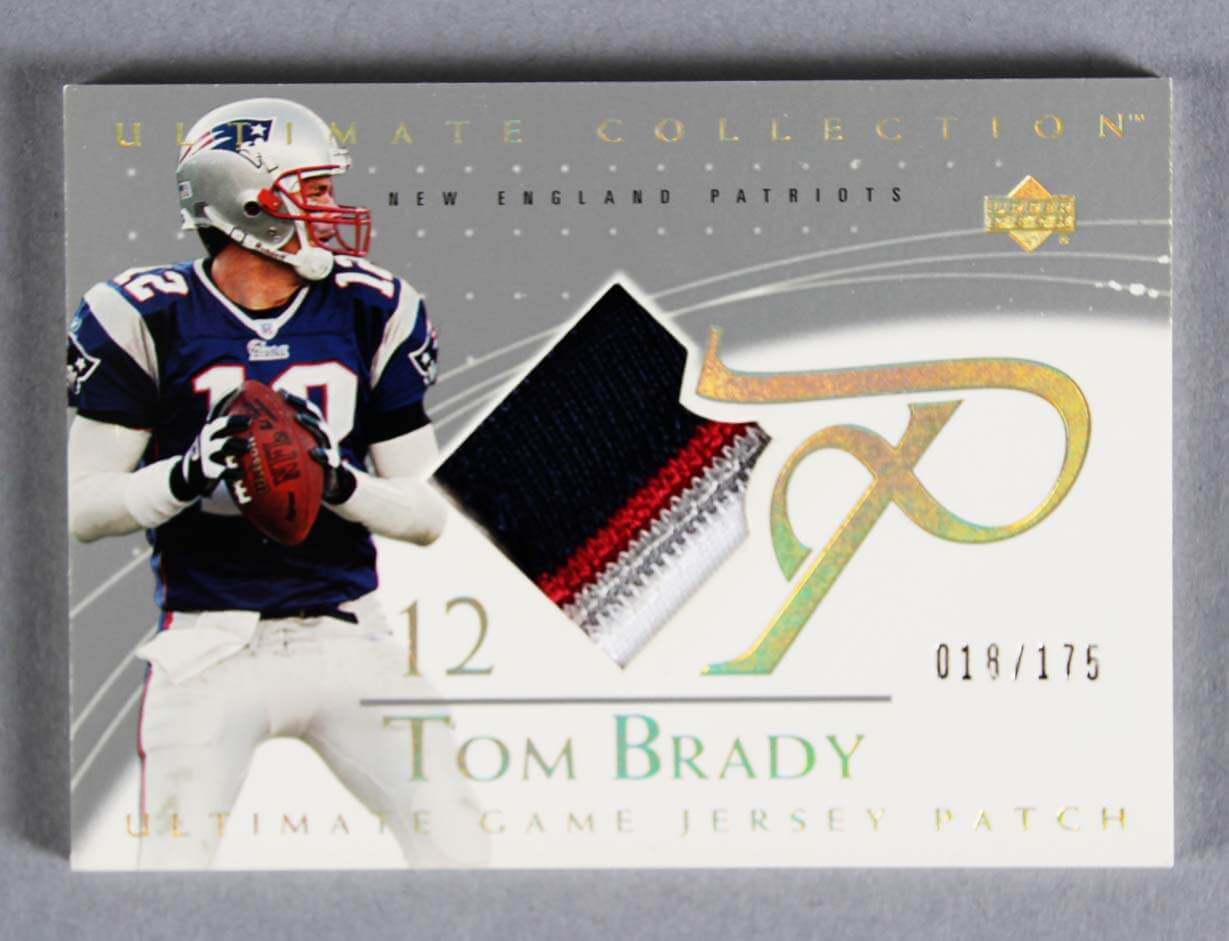 huge selection of 80c7c ffc69 2003 UD Ultimate Collection Tom Brady Game-Used Patriots Jersey Card Patch  18/175