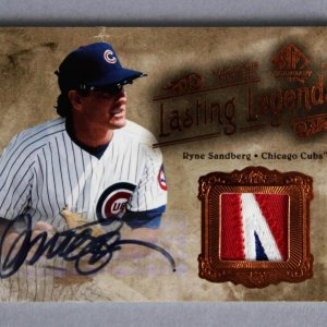 2005 UD SP Legendary Cuts Ryne Sandberg Signed, Game-Used Cubs Jersey Card His # 23/25