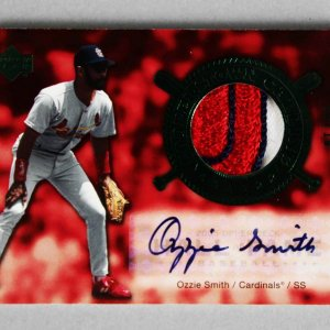 2005 Upper Deck Ozzie Smith Signed Game-Used Cardinals Jersey Card Cooperstown Calling 3/10
