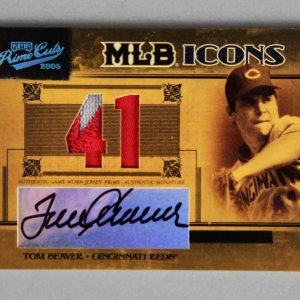 2005 Playoff Prime Cuts Tom Seaver Signed, Game-Used Reds Jersey Card MLB Icons 1/10