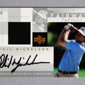 2002 Upper Deck Phil Mickelson Signed Fairway Fabrics Game-Used Shirt Card
