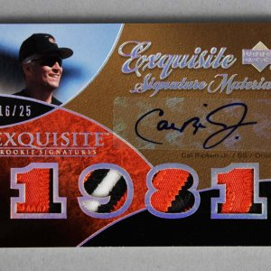 2007 UD Exquisite Cal Ripken, Jr. Signed, Game-Used Orioles Jersey Card Rookie Signatures 16/25