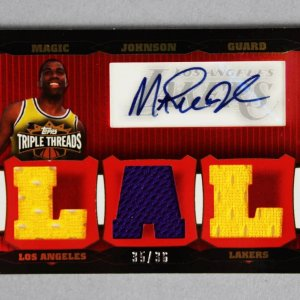 2007 Topps Triple Threads Magic Johnson Signed Game-Used Lakers Jersey Card 35/36